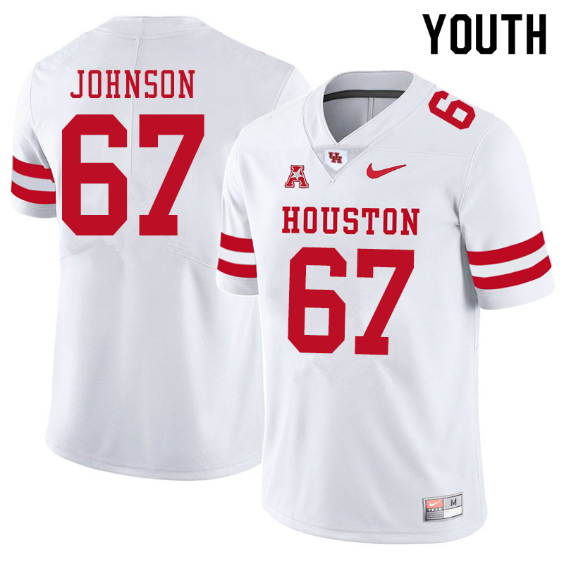 Youth #67 Cam'Ron Johnson Houston Cougars College Football Jerseys Sale-White