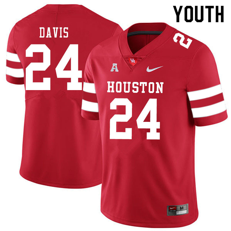 Youth #24 Jaylen Davis Houston Cougars College Football Jerseys Sale-Red