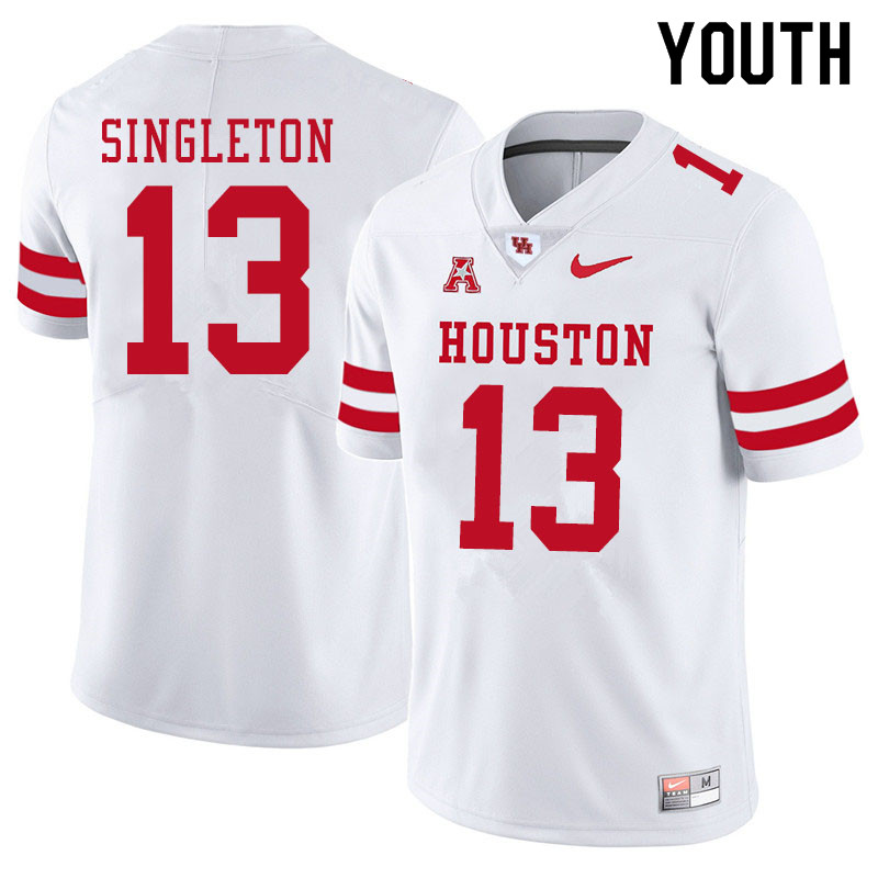 Youth #13 Jeremy Singleton Houston Cougars College Football Jerseys Sale-White