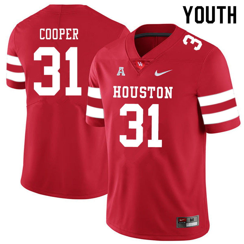 Youth #31 Jordan Cooper Houston Cougars College Football Jerseys Sale-Red