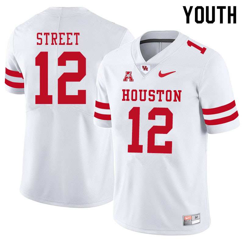 Youth #12 Ke'Andre Street Houston Cougars College Football Jerseys Sale-White