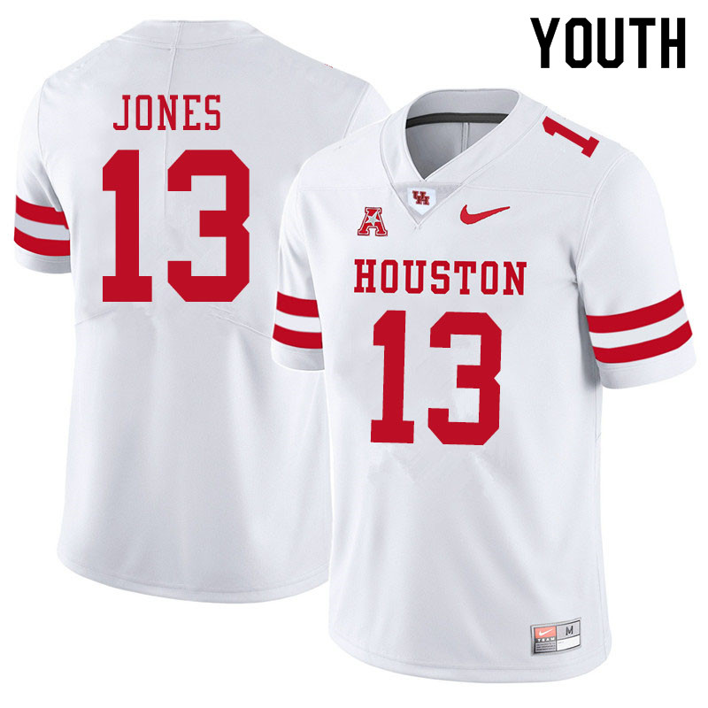 Youth #13 Marcus Jones Houston Cougars College Football Jerseys Sale-White