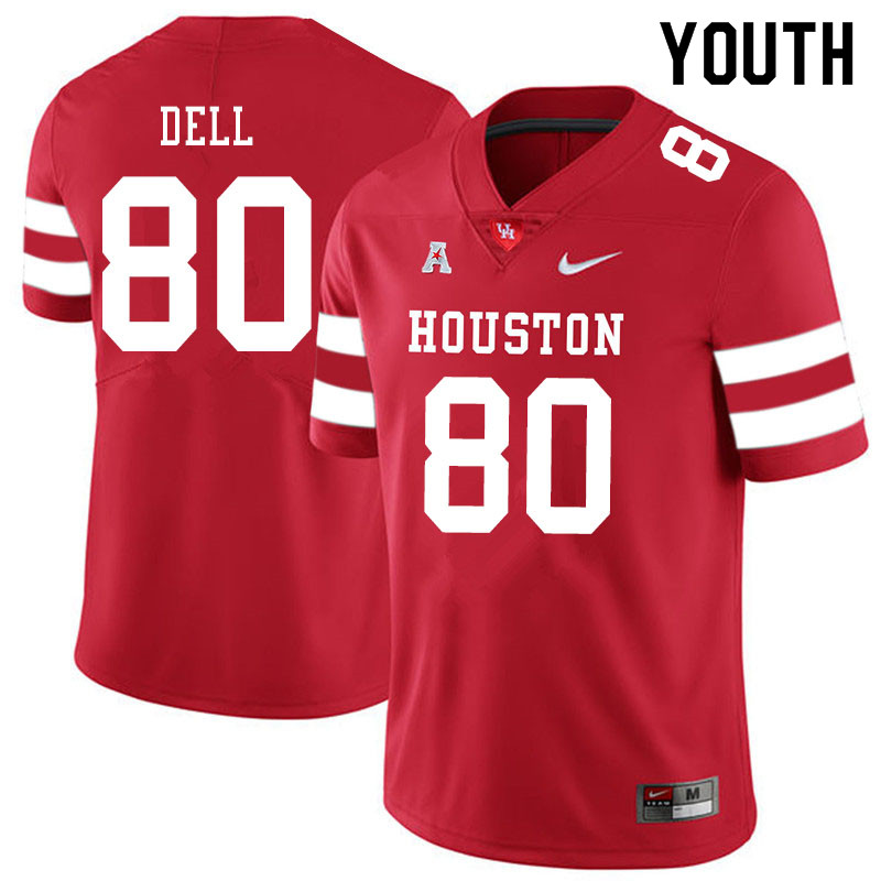 Youth #80 Nathaniel Dell Houston Cougars College Football Jerseys Sale-Red