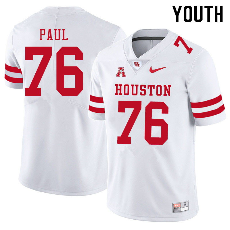 Youth #76 Patrick Paul Houston Cougars College Football Jerseys Sale-White