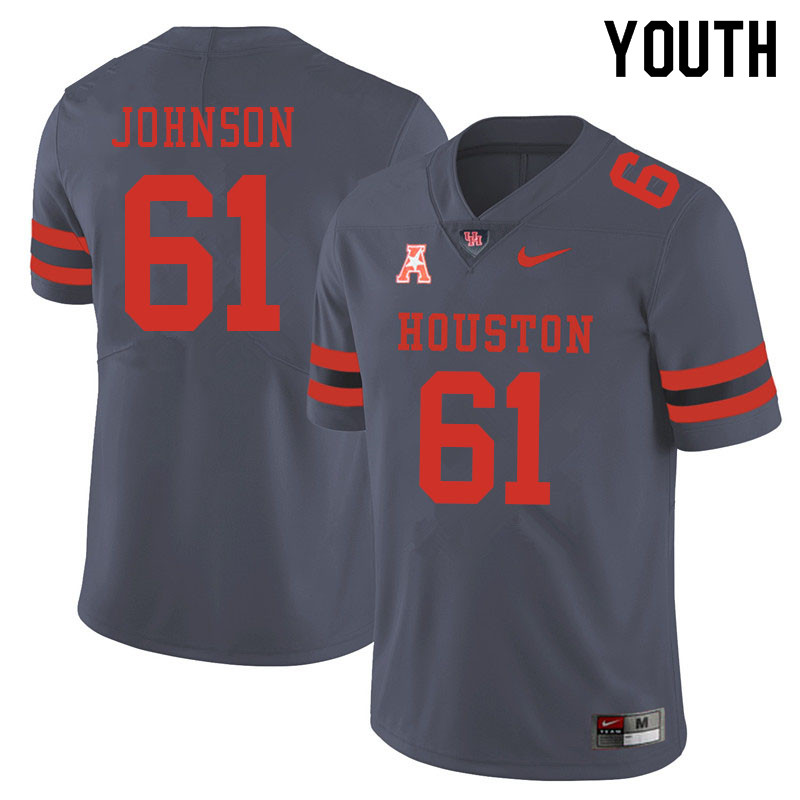Youth #61 Benil Johnson Houston Cougars College Football Jerseys Sale-Gray