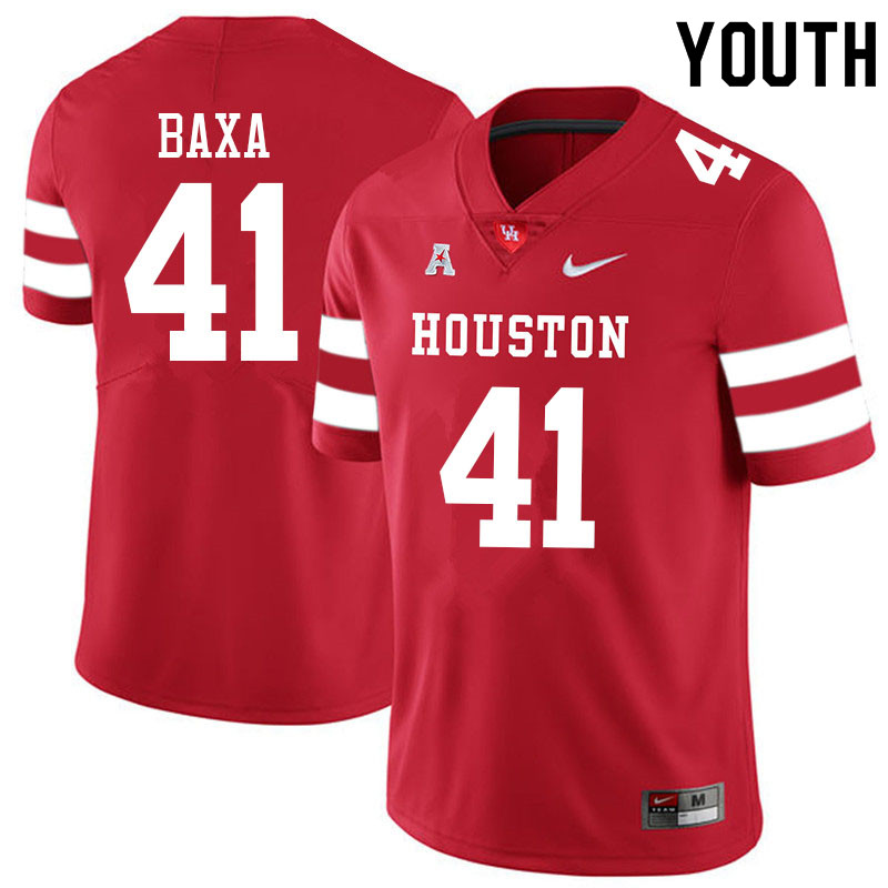 Youth #41 Bubba Baxa Houston Cougars College Football Jerseys Sale-Red