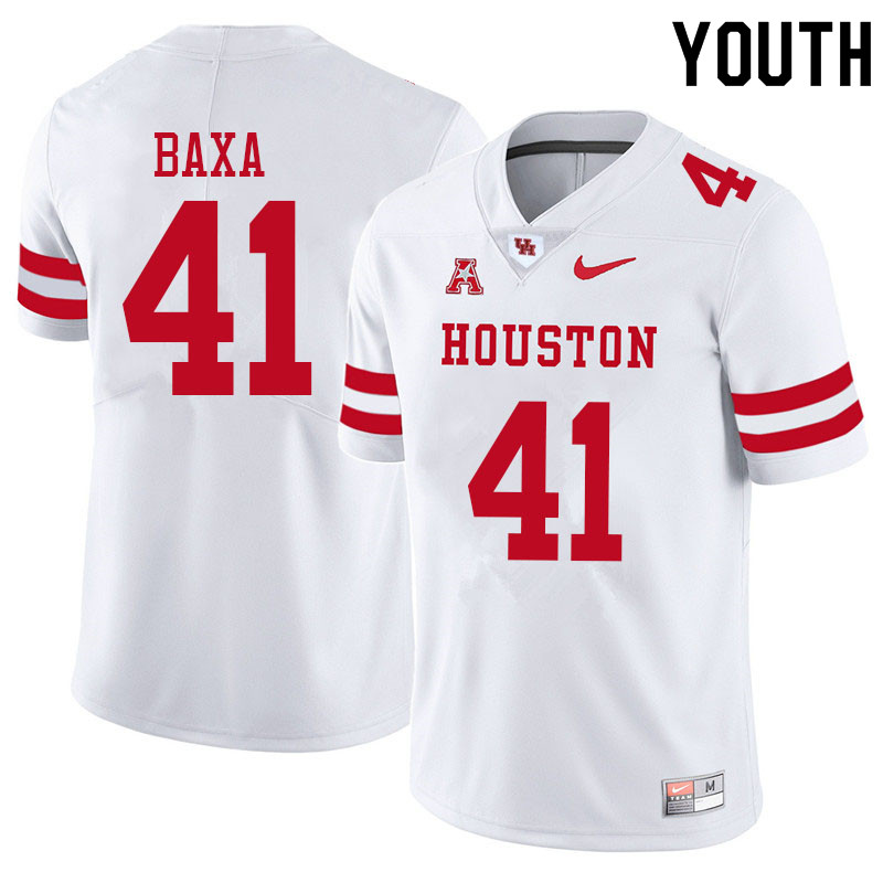 Youth #41 Bubba Baxa Houston Cougars College Football Jerseys Sale-White