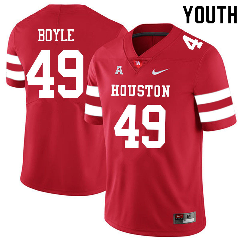 Youth #49 Colby Boyle Houston Cougars College Football Jerseys Sale-Red