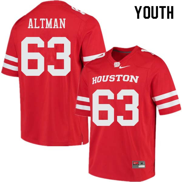 Youth #63 Colson Altman Houston Cougars College Football Jerseys Sale-Red