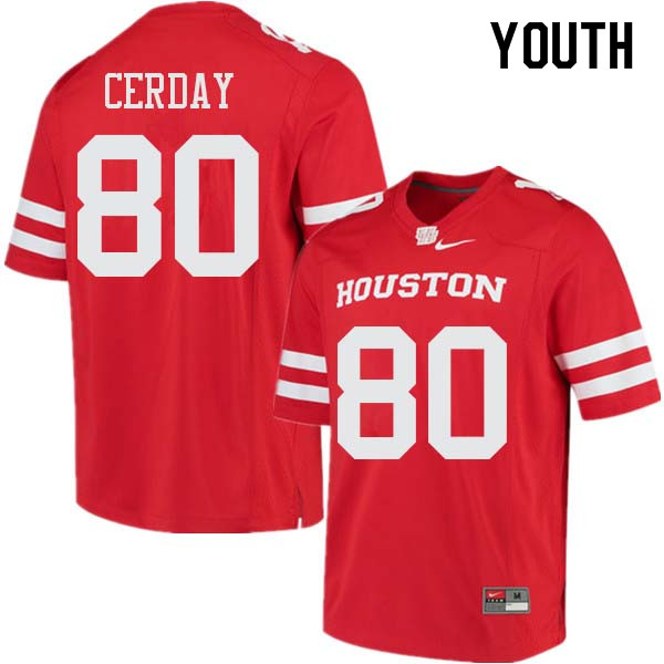 Youth #80 Colton Cerday Houston Cougars College Football Jerseys Sale-Red