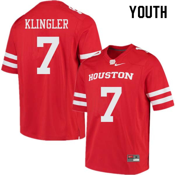 Youth #7 David Klingler Houston Cougars College Football Jerseys Sale-Red