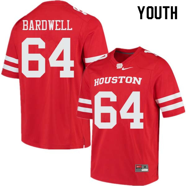 Youth #64 Dennis Bardwell Houston Cougars College Football Jerseys Sale-Red