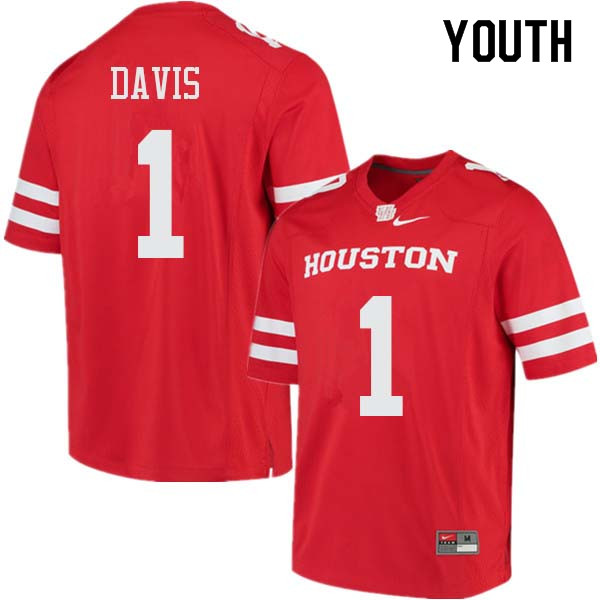 Youth #1 Garrett Davis Houston Cougars College Football Jerseys Sale-Red