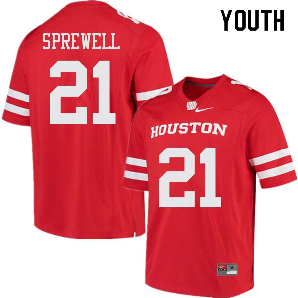 Youth #21 Gleson Sprewell Houston Cougars College Football Jerseys Sale-Red
