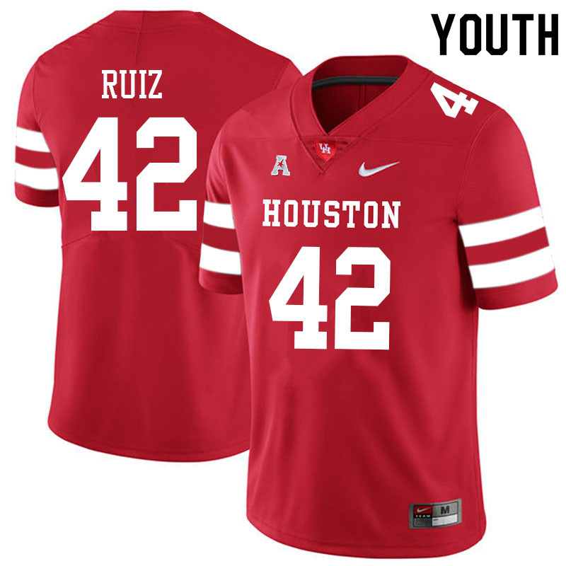 Youth #42 Jake Ruiz Houston Cougars College Football Jerseys Sale-Red