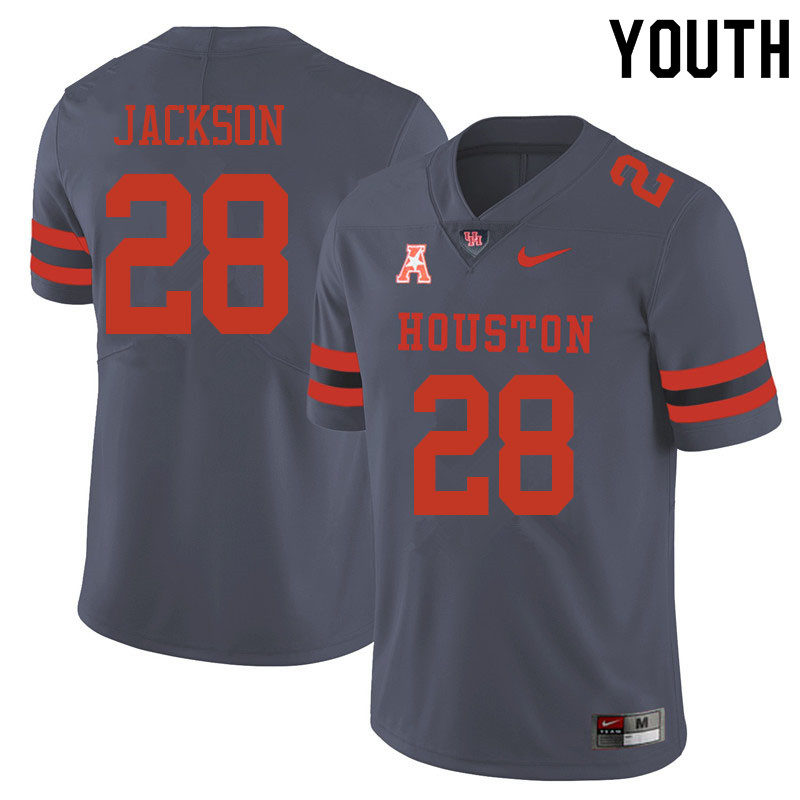 Youth #28 Jared Jackson Houston Cougars College Football Jerseys Sale-Gray