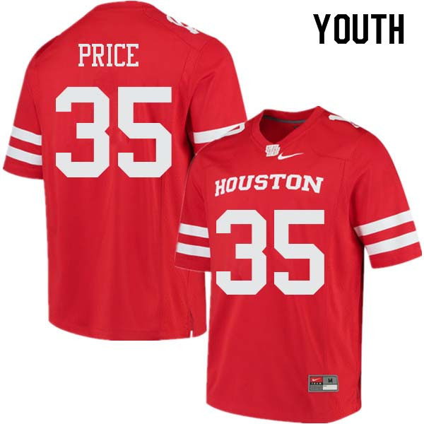 Youth #35 Jayson Price Houston Cougars College Football Jerseys Sale-Red
