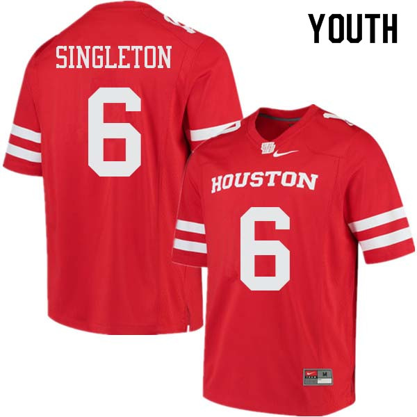 Youth #6 Jeremy Singleton Houston Cougars College Football Jerseys Sale-Red