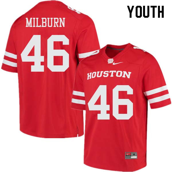 Youth #46 Jordan Milburn Houston Cougars College Football Jerseys Sale-Red