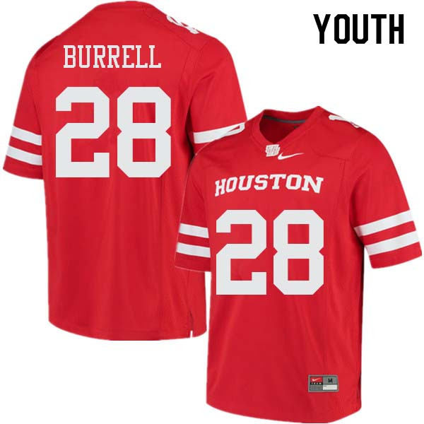 Youth #28 Josh Burrell Houston Cougars College Football Jerseys Sale-Red