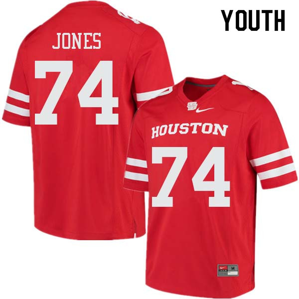 Youth #74 Josh Jones Houston Cougars College Football Jerseys Sale-Red