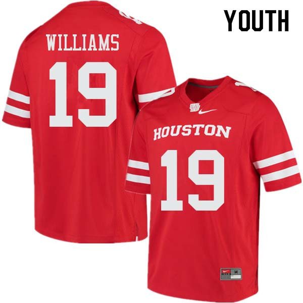 Youth #19 Julon Williams Houston Cougars College Football Jerseys Sale-Red