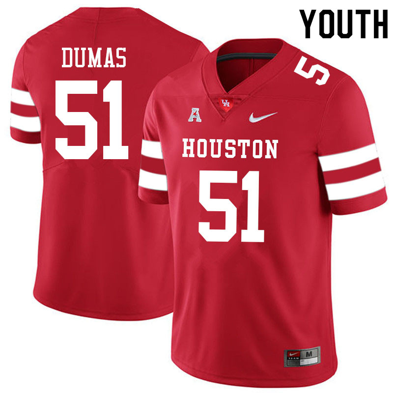 Youth #51 Kanen Dumas Houston Cougars College Football Jerseys Sale-Red