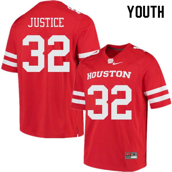 Youth #32 Kevrin Justice Houston Cougars College Football Jerseys Sale-Red