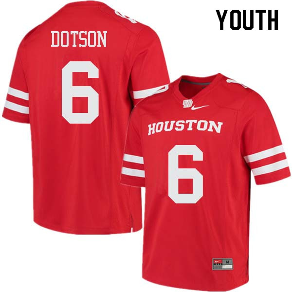 Youth #6 Khari Dotson Houston Cougars College Football Jerseys Sale-Red