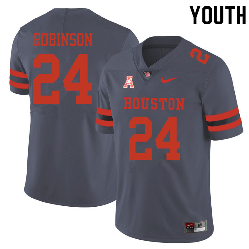 Youth #24 Malik Robinson Houston Cougars College Football Jerseys Sale-Gray