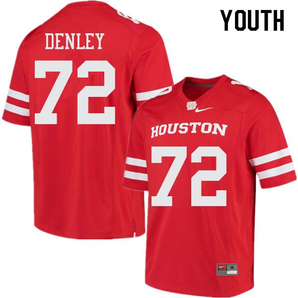 Youth #72 Mason Denley Houston Cougars College Football Jerseys Sale-Red