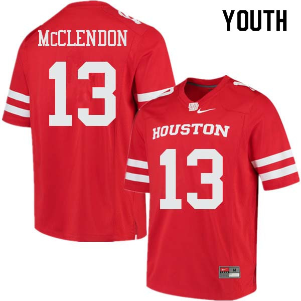 Youth #13 Mason McClendon Houston Cougars College Football Jerseys Sale-Red
