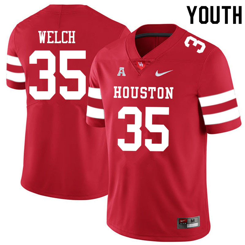 Youth #35 Mike Welch Houston Cougars College Football Jerseys Sale-Red