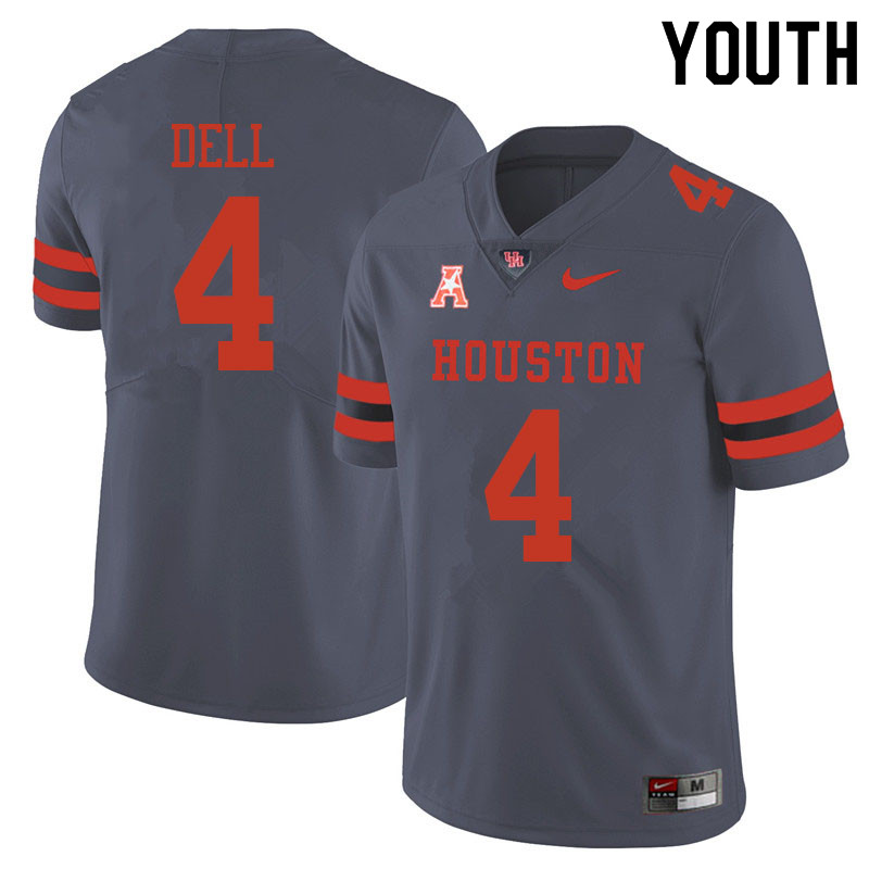 Youth #4 Nathaniel Dell Houston Cougars College Football Jerseys Sale-Gray