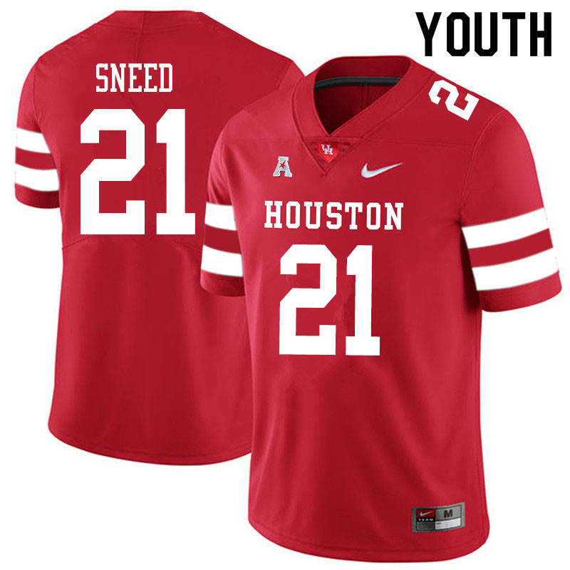 Youth #21 Stacy Sneed Houston Cougars College Football Jerseys Sale-Red