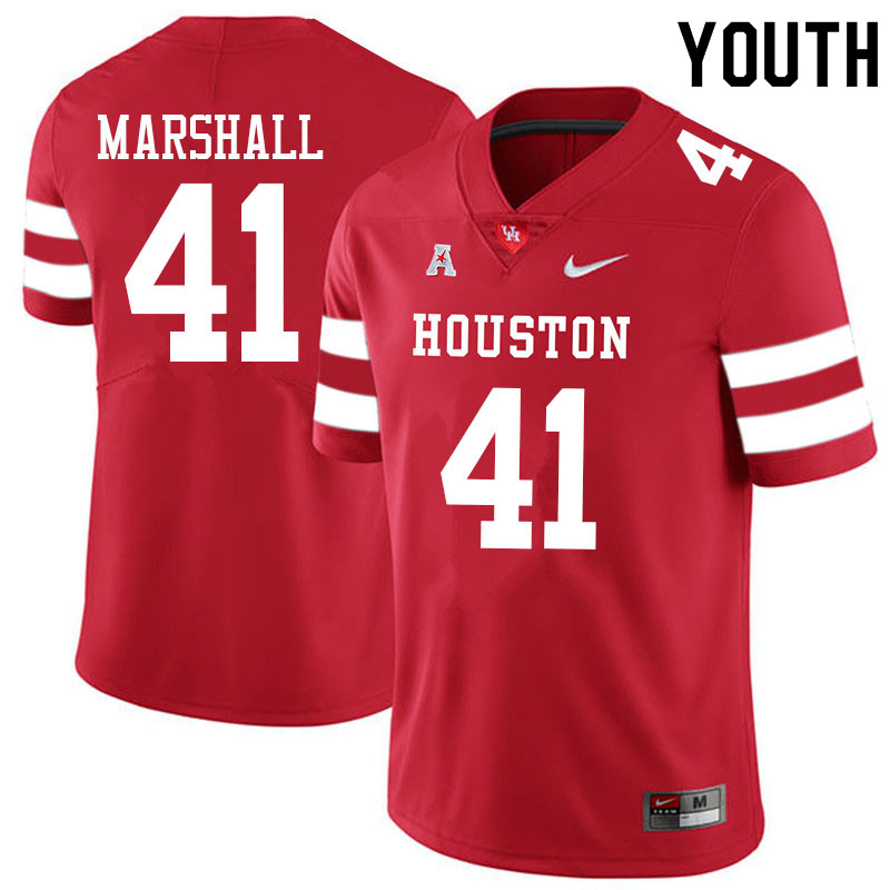 Youth #41 T.J. Marshall Houston Cougars College Football Jerseys Sale-Red