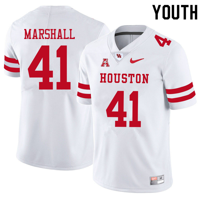 Youth #41 T.J. Marshall Houston Cougars College Football Jerseys Sale-White