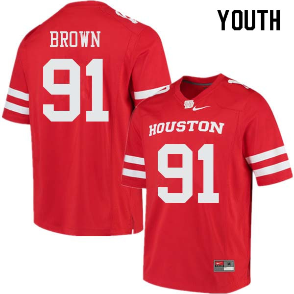 Youth #91 Tahj Brown Houston Cougars College Football Jerseys Sale-Red