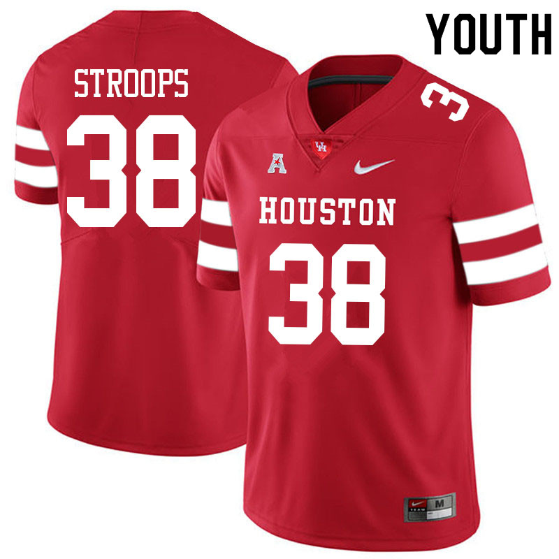 Youth #38 Theron Stroops Houston Cougars College Football Jerseys Sale-Red